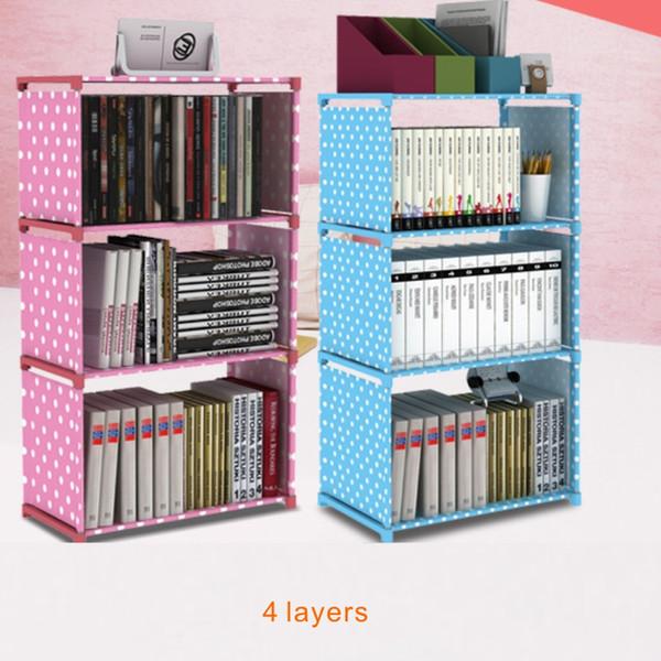 4 capas Storage Racks Librería estantería simple, tela no tejida impermeable avanzada, tubo de acero inoxidable grueso, 5 colores.