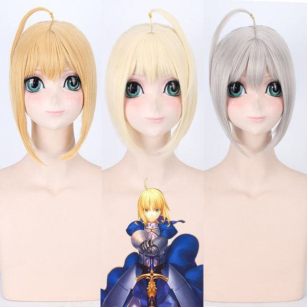 Fate/stay night Fate/Grand Order Saber wig Cosplay Golden Cream-coloured Lavender Wig Cosplay Halloween Carnival wig for women