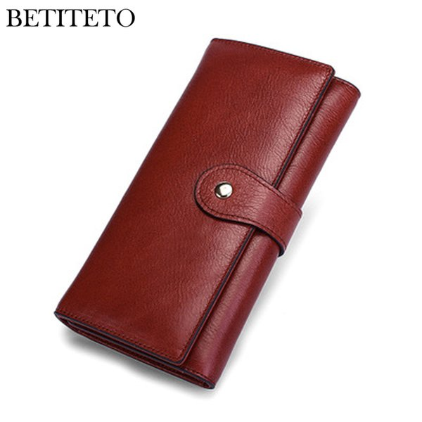 Betiteto Brand Genuine Leather Luxury Women Wallet Female Carteras Long Purse Cluth Kashelek Cuzdan Handy Portomonee Money Bag