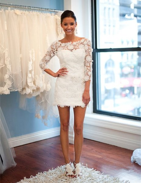 The most beautiful lace applique neckline mini short wedding dress lovely lace wedding dress 2018 sleeves beach wedding dress
