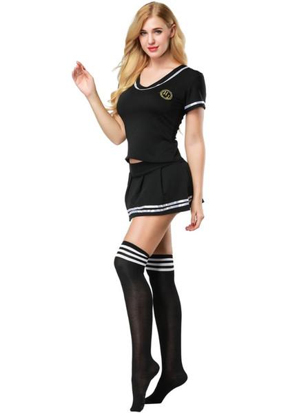 Traje de Marinero de las mujeres Sexy Traje de Marinero Uniforme de Estudiante de Fútbol Sexy Cheerleader con Media 3S1819