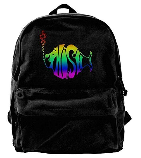 Phish Music Band Logo Canvas Shoulder Backpack Best Graphic Sports Backpack For Men & Women Teens College Travel Daypack Black