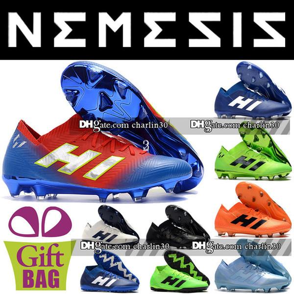 2018 Nuevo tobillo bajo Nemeziz Messi 18.1 360 Agility FG Zapatos de fútbol Copa del mundo Botas de fútbol Zapatos 18.1 FG Tacos de fútbol para hombre
