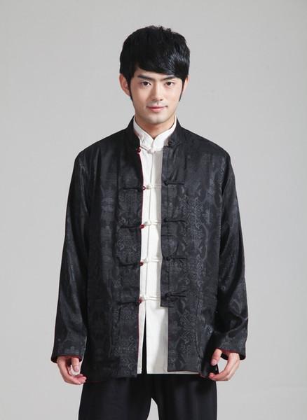 Costume Tang chinois à manches longues Shanghai Story Traditionnel Rouge / Noir Chemise reversible à col mandarin à manches doubles 0937-3