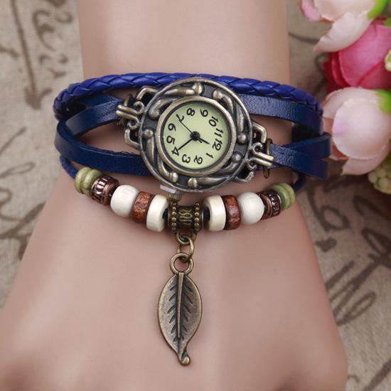 New Vintage Casual Weave Wrap Cowhide Braid Girl Bead Leaf Dangle Bracelet Bangle Ladies Quartz Watch