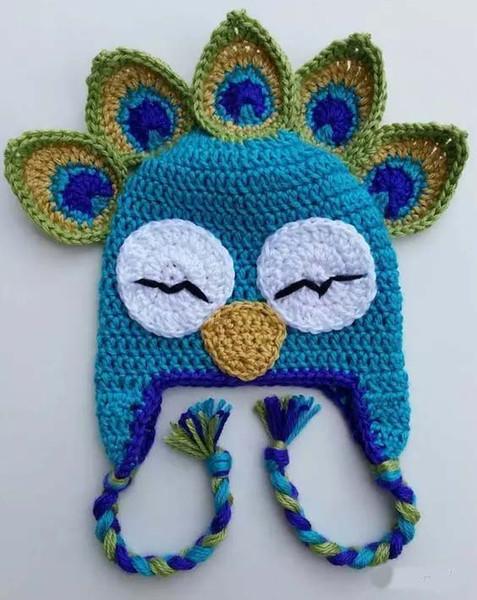 Presente de natal Crochet PEACOCK Chapéu De Malha Cap Bebê Recém-nascido Da Criança Pavo Cap Bebê Meninas Dos Desenhos Animados de Inverno Crianças Peafowl Beanie 100% Algodão