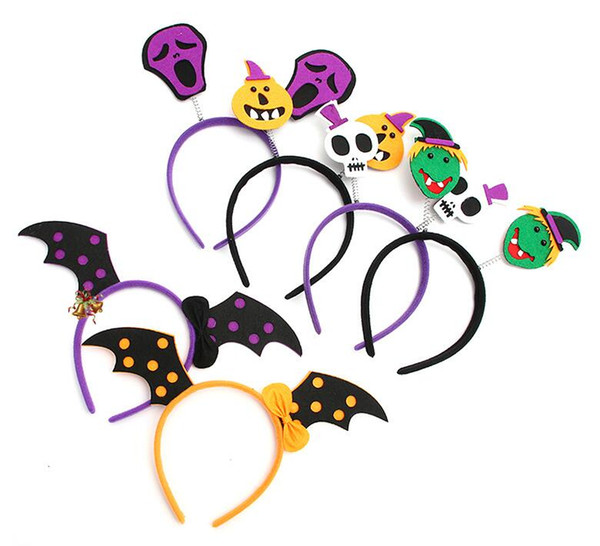 6styles Halloween headband Bats Pumpkin Hair Bands Hoop Children Funny Party Props Headbands Headdress Kids Party favor GGA807 700pcs