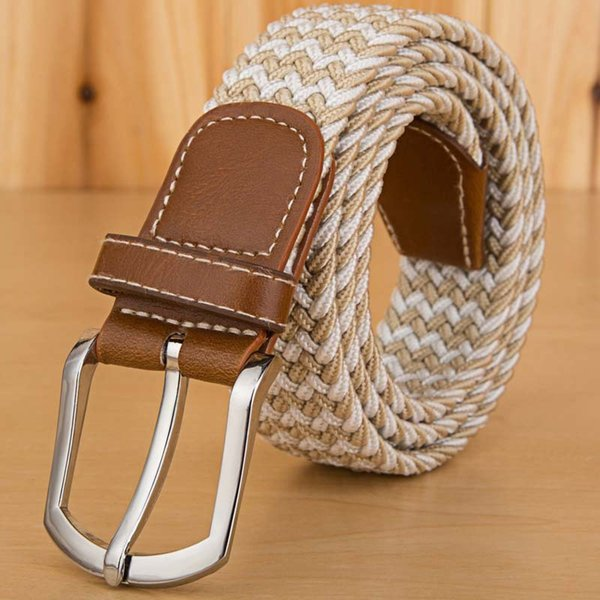 Casual Men Women Canvas Belt High Quality Woven Elastic Stretch Leather Belts Pin Buckle Waistband For Female Cointurones Mujer