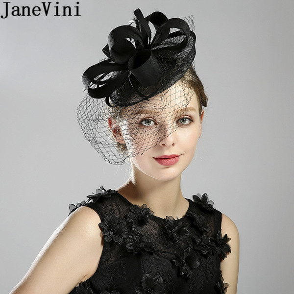 JaneVini Black/Red Vintage Bridal Hat Face Veil Feathers Fascinators Flower Holiday Party Formal Womens Wedding Hat Bride Headwear