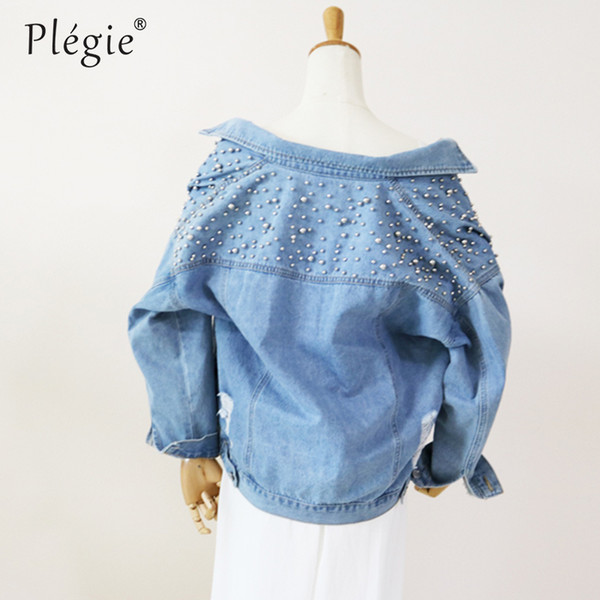 Plegie Women Pearl Beaded Ripped Denim Jacket 2018 Spring Single Breasted Basic Coats Kpop Jeans Coat Loose Holes Denim Jackets