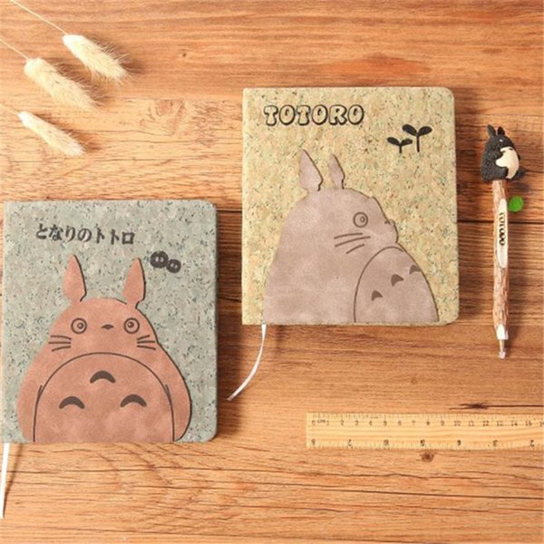 2 Styles Anime Totoro NotWith Pen Set Wooden Diary Day Book Journal Stationery School Supplies Gifts For Kids 18cm