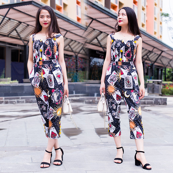 top popular Mother And Daughter Matching Clothrs Children Girls Summer Jumpsuits Poker Printing O-Neck Sleeveless Princess Party Jumpsuits Kids Clothes 2019