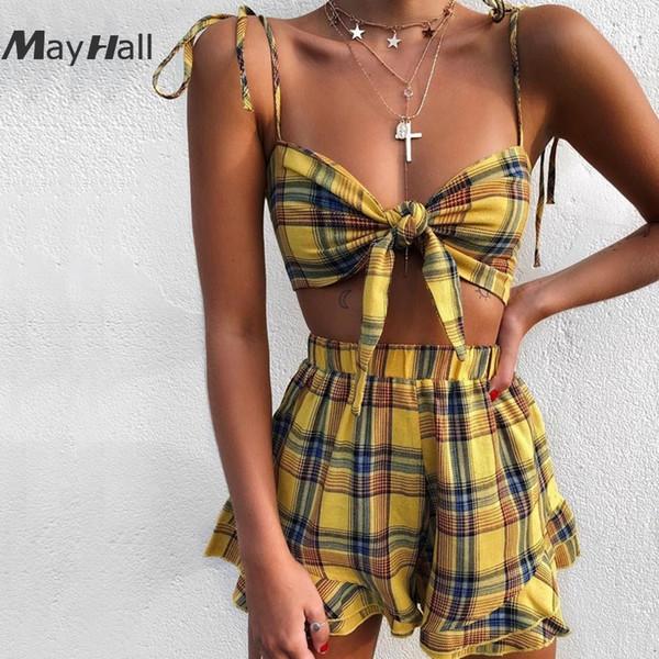 MayHall Yellow Plaid Print 2 Piece Set Women Tie Up Ruffle High Waist Suit 2018 Summer Lady clothes conjunto feminino MH176
