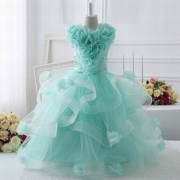 Formal TUTU Flower Girls Dresses for Party and Wedding Kids Evening Gowns Vestido Longo Free Custom Made ytz205