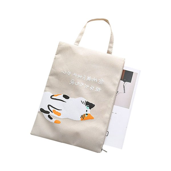 Yesello Cute Cartoon Zipper Office Hand Document Bag A4 File Folder Oxford Cloth School Supplies