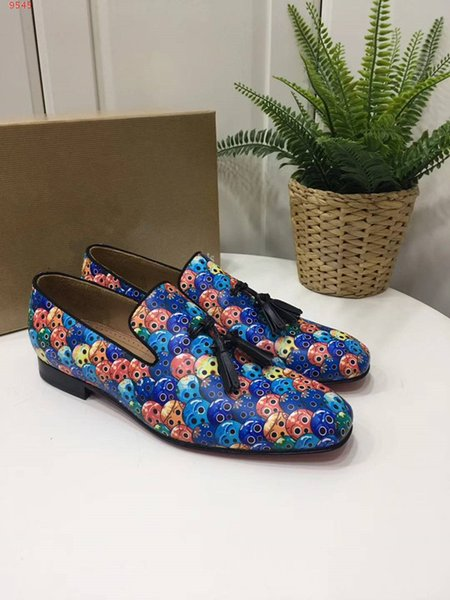 Top quality fashion tassel and prints men boys summer spring homecoming formal party prom dress shoes loafers flats Genuine Leather luxury