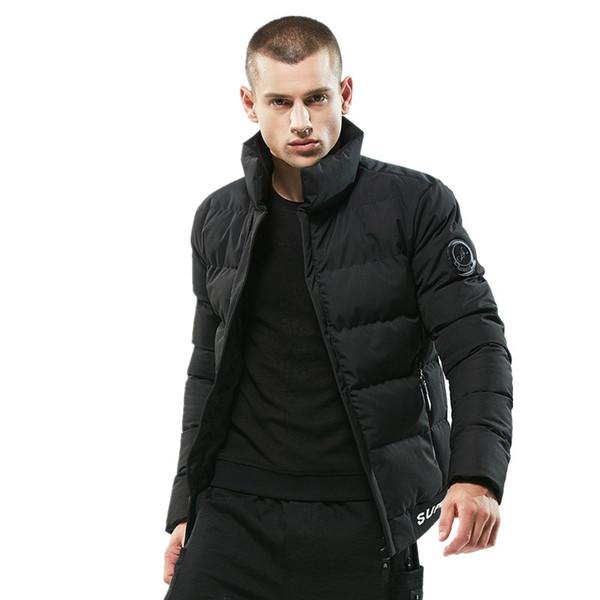 2018 nueva chaqueta de invierno para hombre Parka Casual abrigo de algodón acolchado corto grueso grueso cálido con capucha chaqueta de los hombres