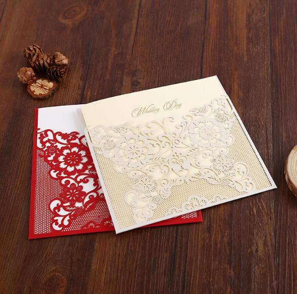 2018 Hollow White Flowers Wedding Invitations Card Free Customized Printing Laser Cut Wedding Birthday Party Invitation Cards With Envelope Free