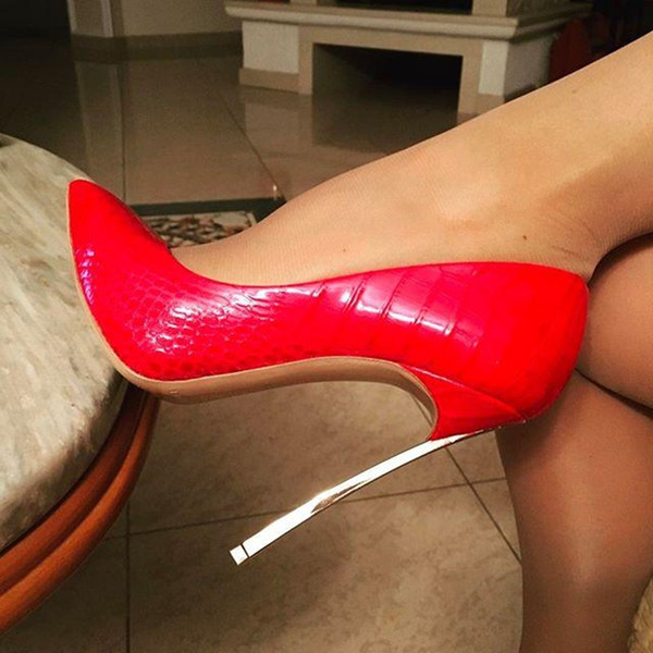 76df65f5f47 Spring Red bottom Pointed Toe high heels pumps Patent Leather Gold ...