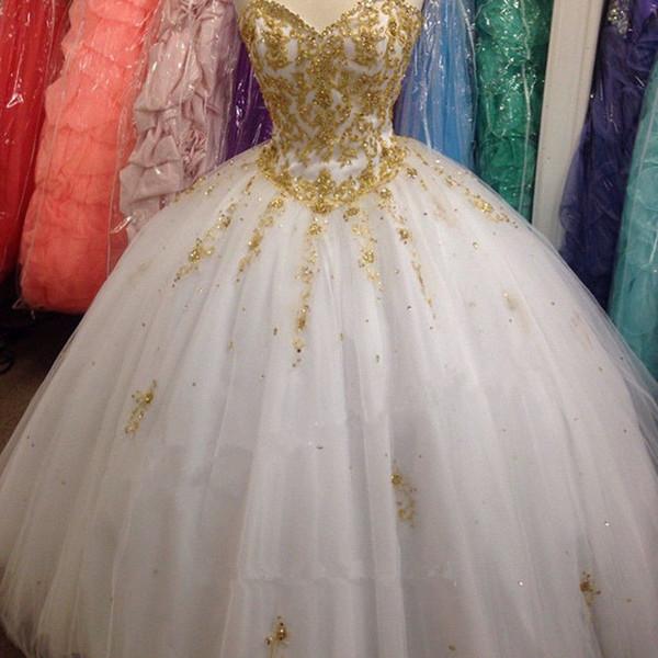 Vestidos De Festa Curtos 2018 Novo Lindo Vestido De Baile Beading Vestidos De Ouro Branco Bordado Quinceanera Para 15 Anos Doce 16 Plus Size Vestido