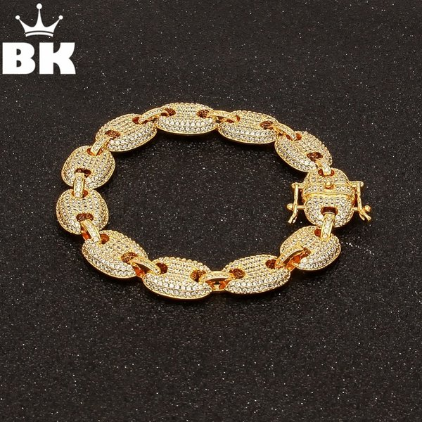 Mens Iced Out Hip Hop Silver Gold-Tone CZ Paved Puffed Marine Link Chain Bracelet 13mm 8inch Multicolor Cubic Zirconia