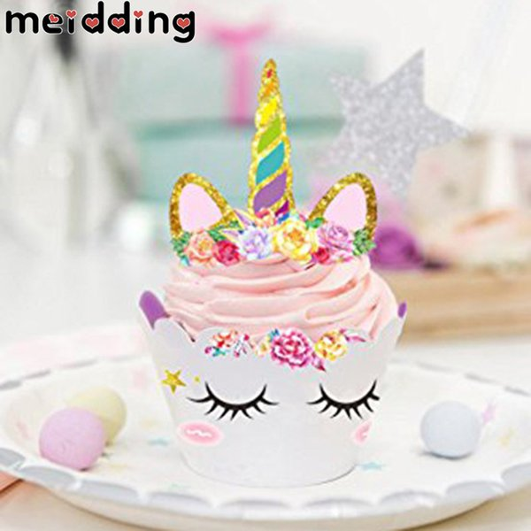 MEIDDING 24Pcs Unicorn Rainbow Cake Toppers Cupcake Wrappers Birthday Party Decoration Baby Shower