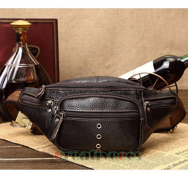 Men Genuine Leather Casual Travel Riding Motorcycle Messenger Shoulder Sling Chest Hip Bum Belt Fanny Pack Waist Bag