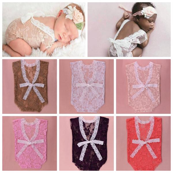 6styles Newborn Photography Props lace Romper Infant Baby Playsuit deep V backless suit Floral Romper Bodysuit clothes FFA886 60PCS