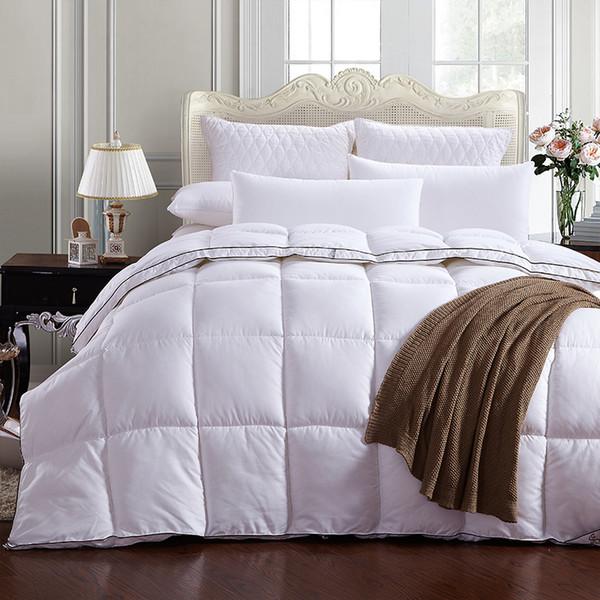 Atacado- Puro Branco + Preto Lateral Quilting Costura Pato Para Baixo + Pena + Edredão De Edredom De Seda De Veludo Para Branco Cobertura Consolador Inverno Era Macio