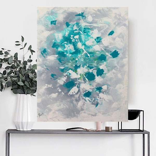 Handmade Blue flowers thick knife abstract oil painting Abstract on Canvas Style Still Life Painting Picture Decor Oil Painting
