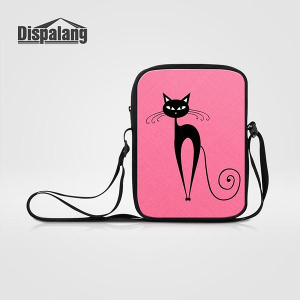 Dispalang New Hot Cartoon Mini Messenger Bag 3D Abstract Cat Printing Pink Crossbody Shoulder Bag For Girl Cute Small Casual