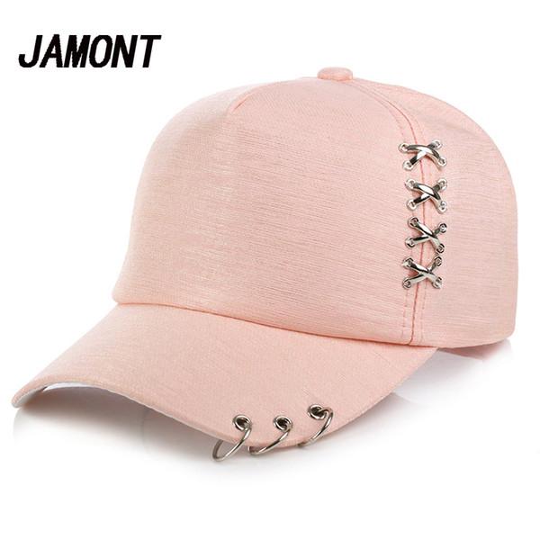 9a5df3f67 Women Sun Hat Baseball Cap White Pink Summer Outdoor Sunscreen Caps Couple  Men Iron Ring Hats