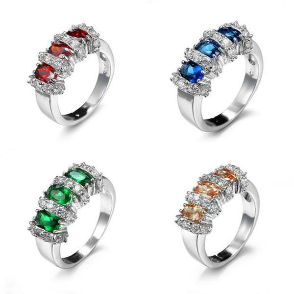 Luckyshine 2 pcs 925 Cristal De Cristal De Cristal Místico Zircão Gemstone Jóias Mulheres Anéis Para O Partido # 6 # 7 # 8 # 9 NOVA