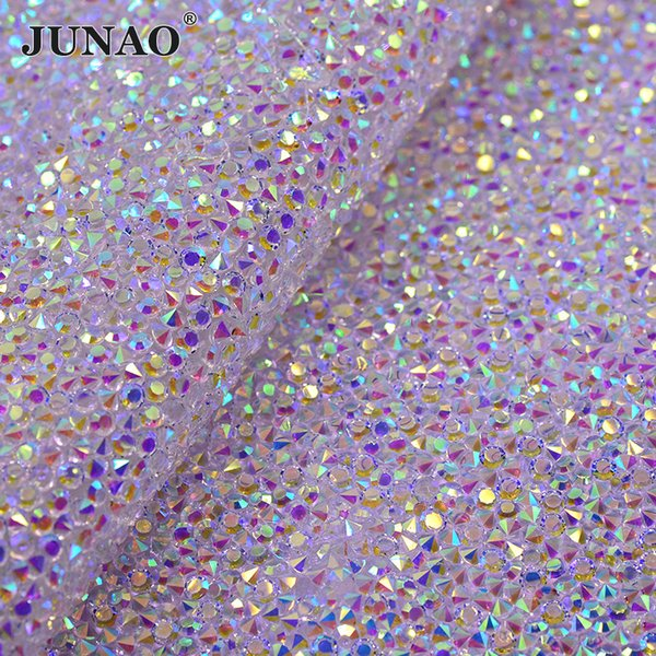 4b0981164c6cb JUNAO 24 * 40 cm Düzeltme Şeffaf AB Rhinestones Kumaş Levha Reçine Kristal  Örgü Trim Strass