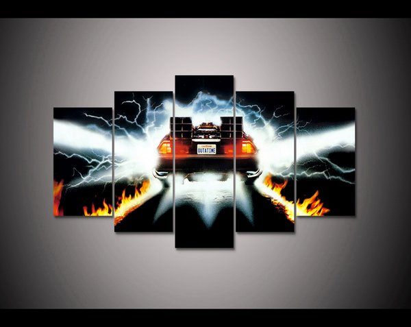 Back to The Future Movie Poster Home Decoration Large 5Panels Giclee Canvas Prints Painting (No Frame)