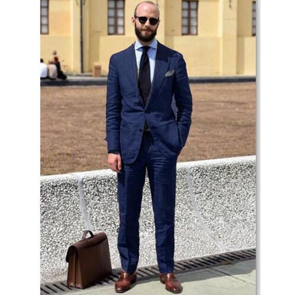 bda150073c43 Navy Blue Men Wedding Suit Slim Fit Groom Tuxedo Blazer Men Suits For  Wedding Terno Masculino