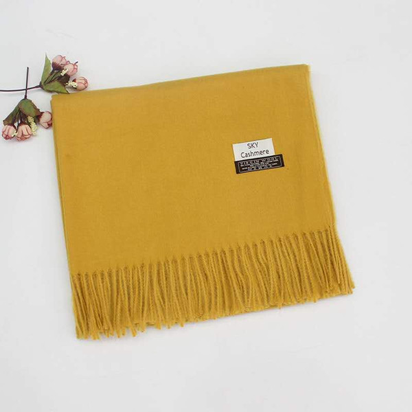 Осень и зима новый шарф женщины не связывают мяч сплошной цвет имитация кашемировый платок