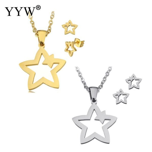 2018 Women Earrings Romantic Unique Design Gold/Sliver Color Stainless Steel Pendant Necklace & Earrings Women Jewelry Set Star