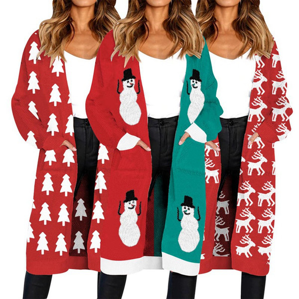 Kintted Christmas Tree Snow Deer Print Lange Strickjacke Cardigan Herbst Winter Casual Langarm Tasche Warme Frauen Mantel Outwear