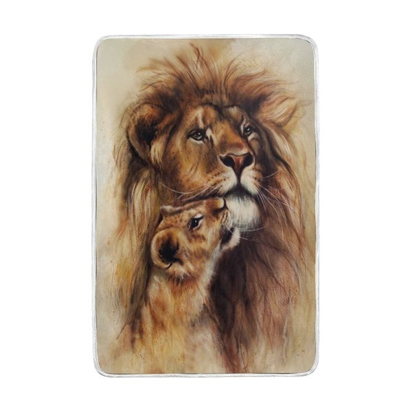 Vintage Painting of Loving Lion Blanket Soft Warm Cozy Bed Couch Lightweight Coral Fleece Blanket for Kids Women Boy