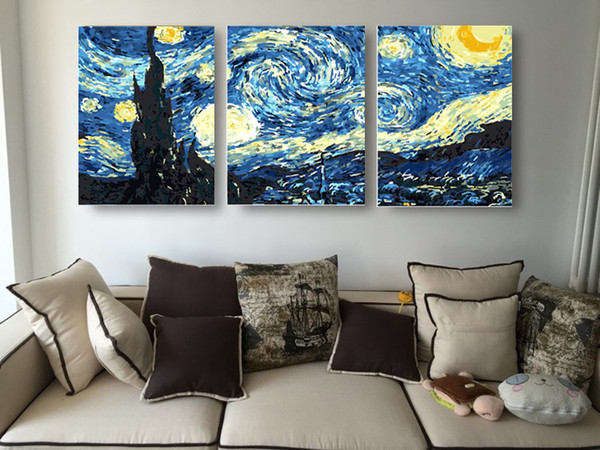 Oil Painting Picture coloring By Numbers DIY Handmade Wall Art Canvas Paint Home Decor 3pcs Set Starry Night van Gogh for Living Y18102209