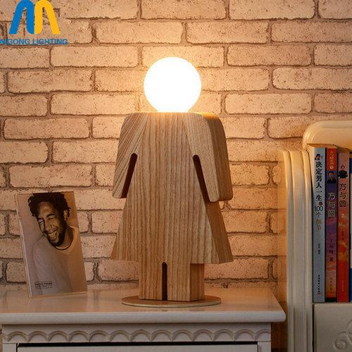 wood boy girl table lamp E27 tafellamp lampe de chevet de chambre for living room bedroom desk lamp gift