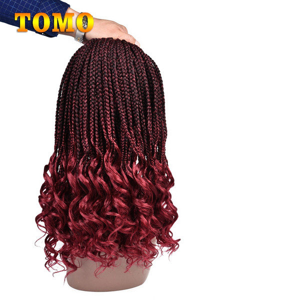 18Inch wavy Ends Crochet Braids Ombre Burgundy Synthetic Box Braided Hair Black Woman Crochet Braiding Hair Extensions 22 Strands/pack
