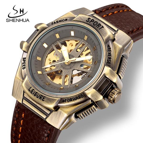 24a7fe8ab31e Купить Оптом SHENHUA Мужские Спортивные Автоматические Наручные Часы  Стимпанк ...