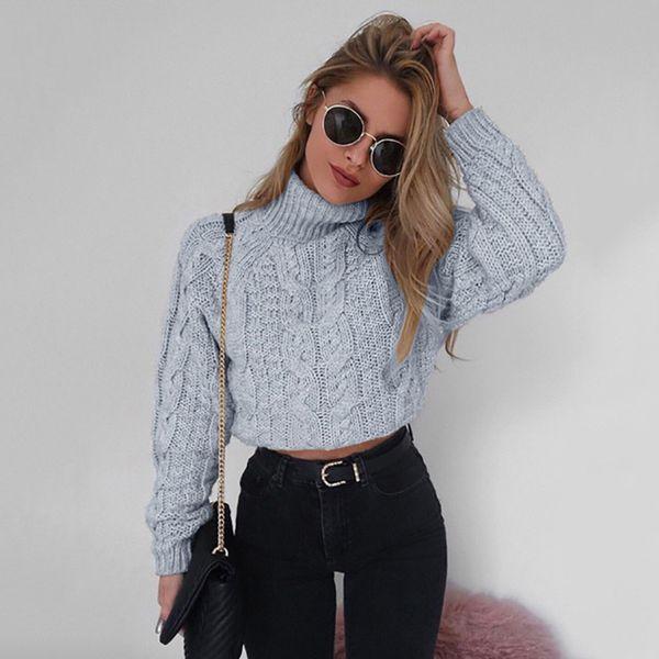 Miyahouse cuello estilo simple cuello alto de punto suéteres de las mujeres de algodón flojo primavera suéteres suéteres para color sólido femenino