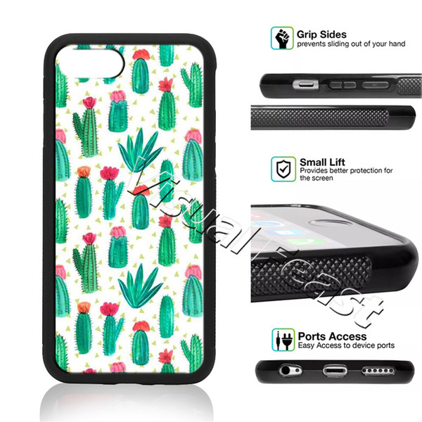 Tropical Plants Flower Cactus Phone Case For iPhone X 8/7/6/6s Plus 5s SE Phone Cover Free Gift
