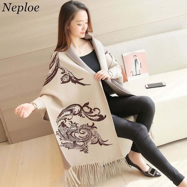 Neploe Winter Elegant Knit Cardigan Digital Printed Women Long Bat Poncho Tassel Shawl Cape Lady Sweater Cloak Coat 36598