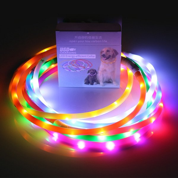 30pcs DHL New Cut USB Charge Dog Training Collar LED Outdoor Luminous charger Pet Dog Collars light Adjustable 6colors flashing dog collar