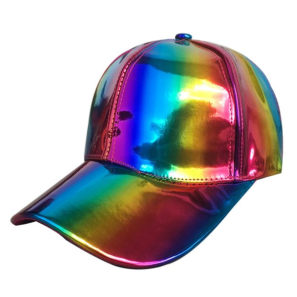 Fashion trend hip hop hat gradient color colorful leather curved brim baseball cap New star stage laser reflective hat 6 colors