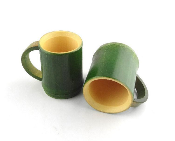Handmade Natural Bamboo Tea Cup Japanese Style Beer Milk Cups With Handle Green Eco-friendly Travel Crafts SN1301